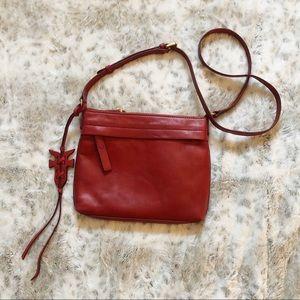 Frye Carson Red Dip Dye Leather Crossbody Bag